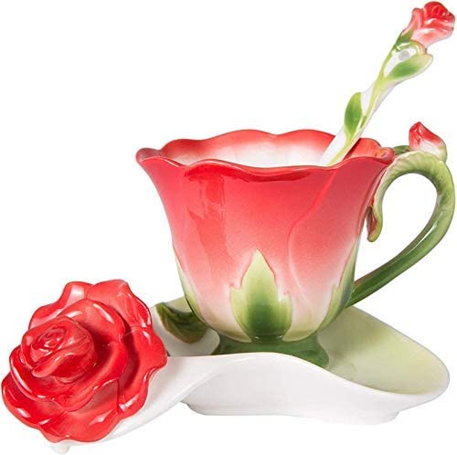 Today's only Flower Tea Cup Now on sale Cups and Saucer Cof Rose Coffee Shape Set