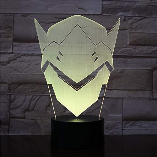 shiyueNB USB 3D LED nachtlampje Shimada Genji masker jongens kind kinderen baby cadeautjes decoratieve verlichting FPS spel OW overwatch tafellamp nacht