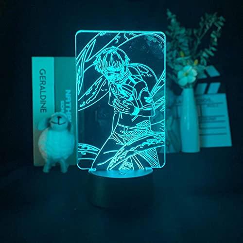 Lámpara de ilusión 3D Luz de noche LED Novedad Lámpara de mesa de anime Kaneki Ken Figura Noche inteligente Tokyo Ghoul Atmósfera Noche Niños Fans Regalo Niño Niña Regalo de cumpleaños de Navidad
