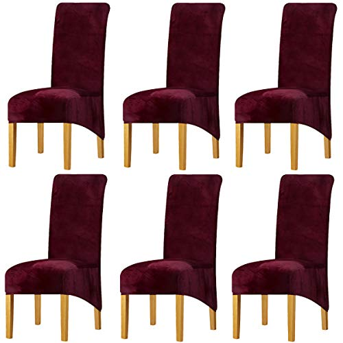 LANSHENG Stretchy XL Stuhlbezüge für Esszimmerstühle, Stretch Spandex mit Gummiband Stuhlbezug,Velvet Large Dining Chair Schonbezüge für Restaurant Hotel Party Bankett (Weinrot,6er Set (Groß))