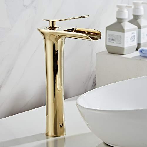 AIMADI Wasserhahn Bad Wasserfall Waschtischarmatur Hoch Badarmatur aufsatzwaschbecken Armatur Badezimmer Golden