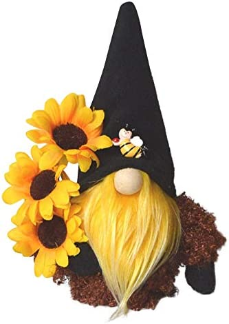 Bumble Bee Gnome Gonks Plush Sunflower Gonk Gnomes Scandinavian Tomte Nisse Swedish Honey Bee Home Farmhouse Kitchen Decor Bee Shelf Summer Tiered Tray Decorations Gifts (A)