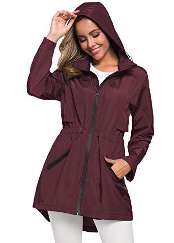 Avoogue Ladies Raincoat with Hood Waterproof Water Resistant Jacket Women Lightweight Wine Red XL