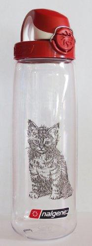 Nalgene 'Everyday OTF' - 0,7 L, transparent-rot, mit Katzenmotiv