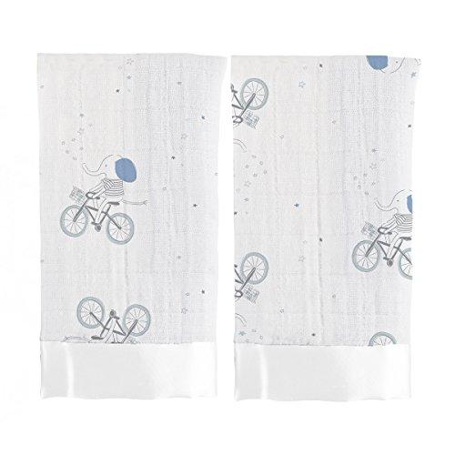 aden + anais - Couverture-Doudou Issie, en Mousseline 100% Coton avec bordure en Satin, Doudou Bébé Doux & Confortable, Nouveaux-nés, Garçon, Gris & Bleu, Lot de 2, 40x40 cm