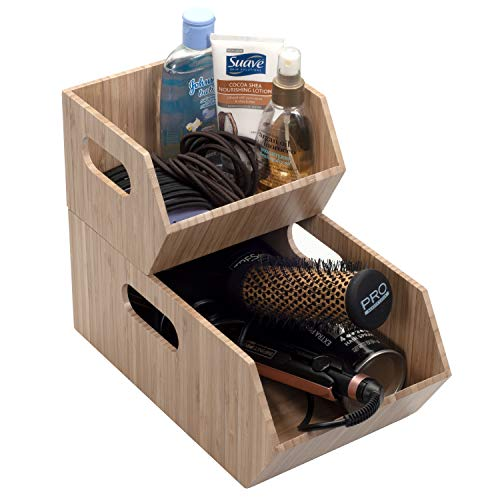 MobileVision Bamboo Storage Bins for Bathroom Cabinet Organizer, 2 PC Stackable Set, Holds Toilet Paper, Wipes, Towels, Air Freshener, Hair Accessories & More