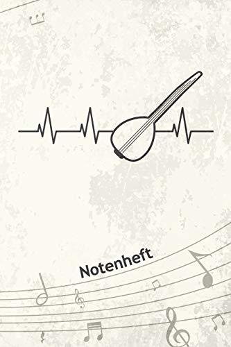 NOTENHEFT: A5 Musik Notenblock für Musiker Komponisten - 120 Seiten Notenlinien Blanko Notenpapier - für Musikinstrumente Instrumente - Türkische Gitarre für Saz Spieler - Baglama Matte Cover