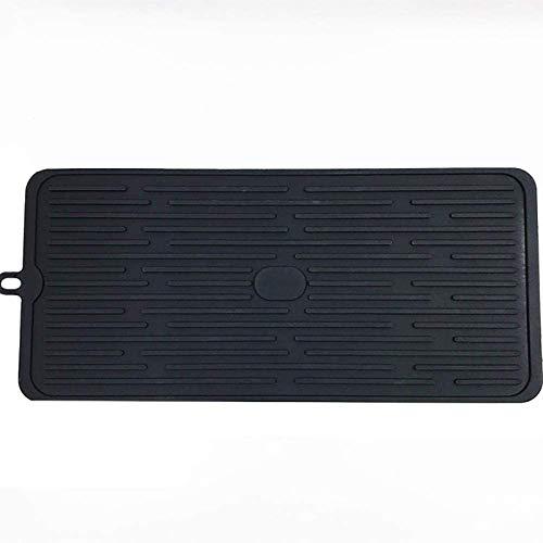 ShenMiDeTieChui Estera de Dibujo para Platos, Silicona, Secado rápido, Resistente al Calor, Antideslizante, Respetuoso con el Medio Ambiente (Color : Black)
