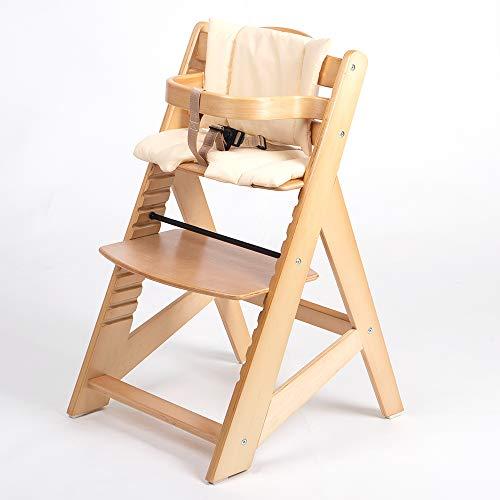 TIGGO Kinderhochstuhl mitwachsend - Treppenhochstuhl - Buchenholz - Babyhochstuhl - Hochstuhl ab 6 Monaten bis 10 Jahre 32112-04 natur/creme