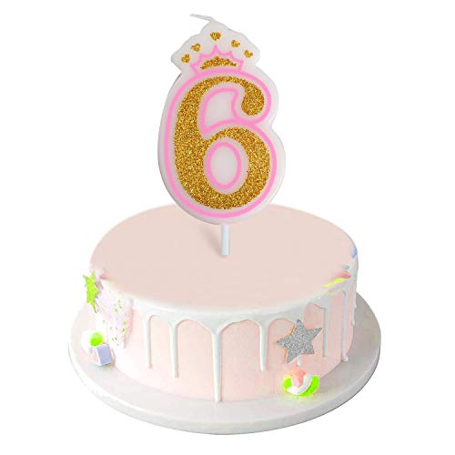 Number 6 Giltter Candle,Number 0-9 Birthday Candle for Girl Boy Birthday Cake Topper Decoration(Pink Number 6)