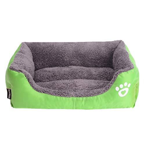 LEOCLOTHO Cama para Perro Gato Sofá para Mascotas Suave Cesta Mascota Cálida Algodón PP Tumbona Cómoda Huella-Verde M