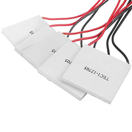 WiMas 5 Stück TEC1-12705 Peltierelement Thermoelectric Module, thermoelektrischer Kühler, Peltier Element für Kühlen Heizen, 12V, 45W