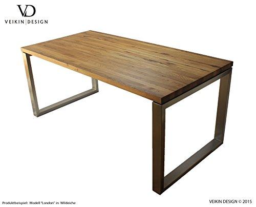 VEIKIN DESIGN Esstisch Eiche massiv London 220 x 100 cm, Designer Tisch Massivholz mit Edelstahl, Holztisch Metall Stahl, Tisch Holz, Premium Esszimmertisch !!!