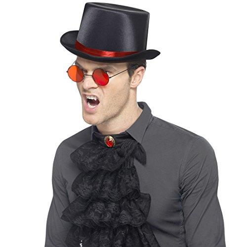 NET TOYS Vampir Kostümset Gothic Set mit Hut, Brille & Jabot Dracula Halloweenkostüm Blutsauger Accessoires Dunkler Lord Outfit Steampunk Kostüm Zubehör
