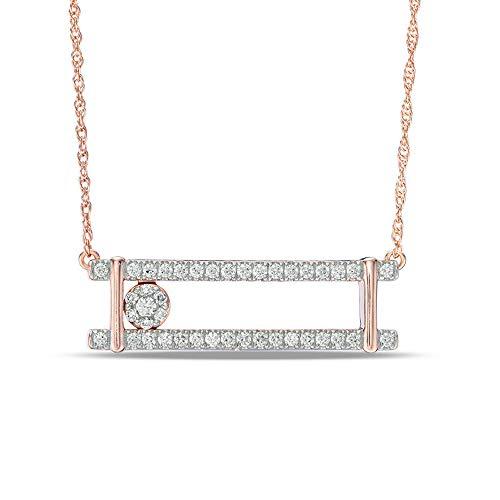 Ani's Collar de barra abierta deslizante de diamante D VVS1 de 1/2 quilates para ella en plata de ley 925 chapada en oro rosa de 10 quilates, 40,64 cm