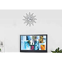 AUNMAS Wall Clock Sparkling Bling Metallic Silver Flower-Shaped Wall Clock for Living Room Office(2)