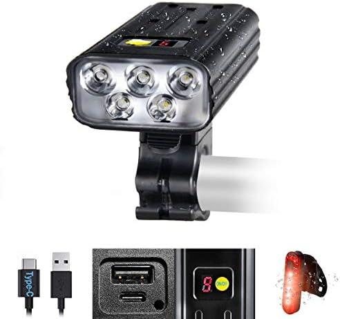 VASTFIRE Best Bike Lights for Night Riding 8000 High Lumen 5 LEDs 5 Modes 5200 mAh USB Type product image