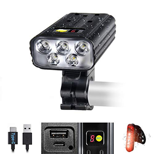 VASTFIRE Best Bike Lights for Night Riding 8000 High Lumen 5 LEDs 5 Modes 5200 mAh USB Type-C Charging and Discharging MTB Headlight Most Powerful Mountain Biking Bicycle Light for Off Road Trails