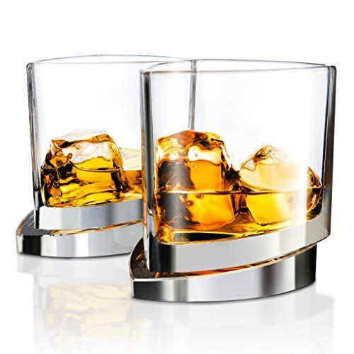 JoyJolt Aqua Vitae Premium Whiskey Glass Set of 2. Triangle Whiskey Glasses with Off Set Base. Old Fashioned Rocks Glasses for Scotch and Bourbon. Whiskey Tumbler Gifts for Men.