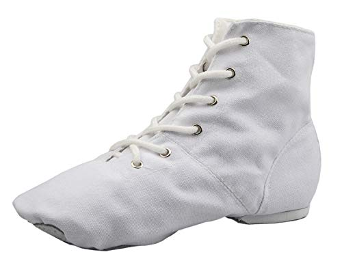 NLeahershoe Lace-up Canvas Dance Shoes Flat Jazz Boots for Practice, Suitable for Both Men and Women (6.5K/7.5W/40, white)