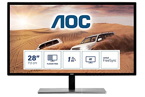 AOC Monitor U2879VF- 28' UHD, 60 Hz, 1ms, TN, FreeSync, 3840x2160, 300 cd/m, D-SUB, HDMI 1x2.0, Displayport 1x1.2