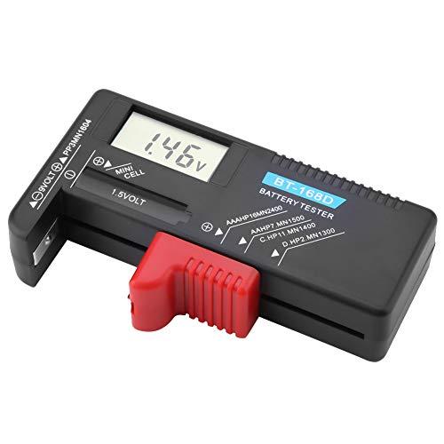 Comprobador de batería, práctico BT 168D Probador de voltaje de batería universal Probador de voltaje de batería digital pequeña para pilas de botón AA AAA 9V 1.5V para USO DOMÉSTICO