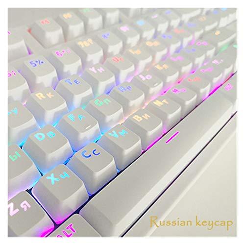 lifebea Tastenkappen 104 Keycaps Gaming Keycaps Mechanische Tastatur-Hüte Transluzent Backlit White und Black Keychain Key Cover Opener gmk (Color : Russian keycap White)