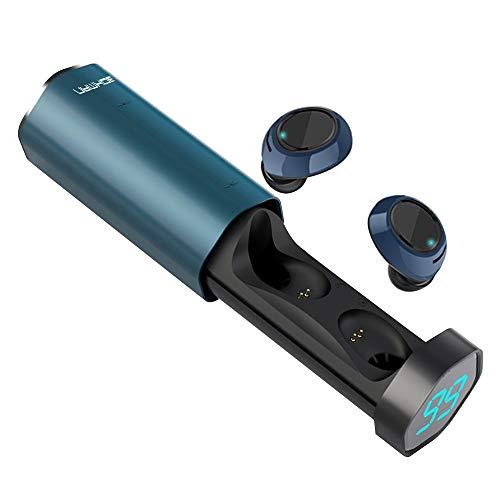 bokman Auriculares Bluetooth, T2 Auriculares Inalámbricos Deportivos Bluetooth 5.0 Micrófono Incorporado Impermeable HiFi In-Ear Mini Twins Estéreo con Caja de Carga para iPhone y Android (Azul)