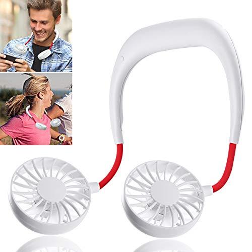 Hand Free Personal Fan - Portable USB Battery Rechargeable Mini Fan - Headphone Design Wearable Neckband Fan Necklance Fan Cooler Fan with Dual Wind Head for Traveling Outdoor Office Room (White)