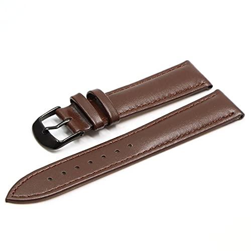 LINMAN Pulsera de Cuero marrón con Pulsera de Cierre de Oro Rosa 16 mm 18 mm 20 mm 22mm 24mm (Band Color : Dark Brown BK, tamaño : 20mm)