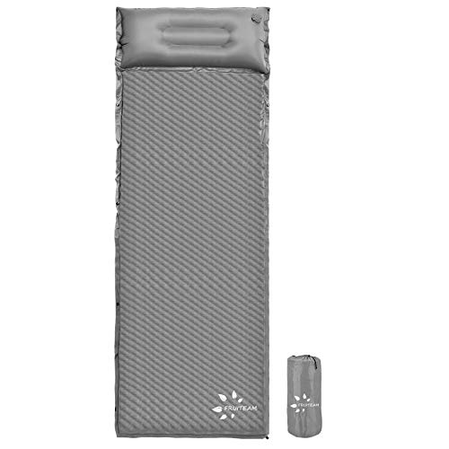 FRUITEAM Camping Sleeping Pad Self-Inflating Camping Pad Foam Sleeping Mat with Pillow Camping Mat for Backpacking, Traveling and Hiking, Gray