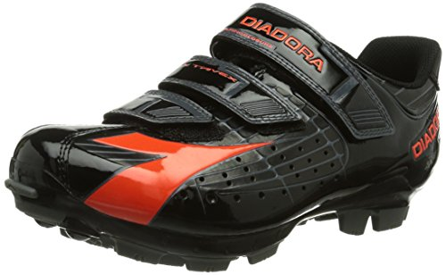 Diadora X TRIVEX - Calzado de ciclismo unisex, Negro (Negro/Rojo fluo 4115), EU 42