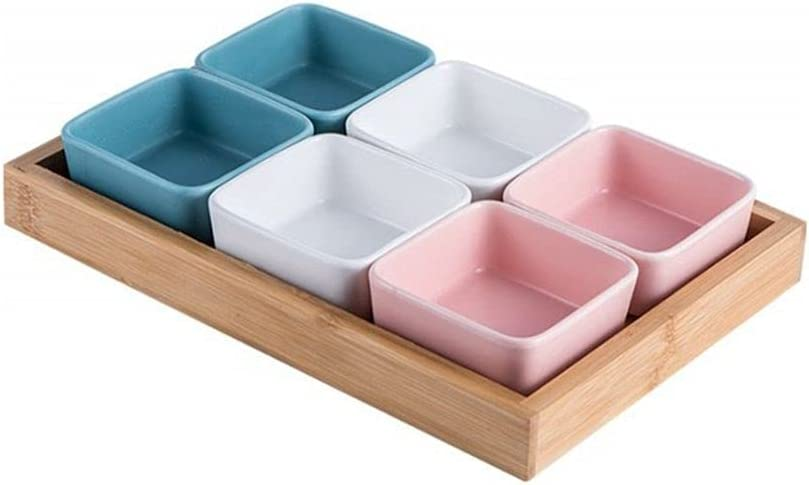 Lormu Ceramic Recommended Dip Los Angeles Mall Dipping Bowls Set - Bamboo with S Tray