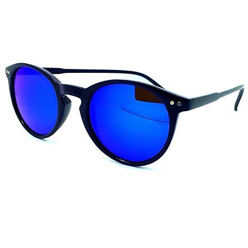 KISS Gafas de sol estilo MOSCOT mod. WAVE Mirrored - hombre mujer REDONDO Johnny Depp VINTAGE - NEGRO/Azul