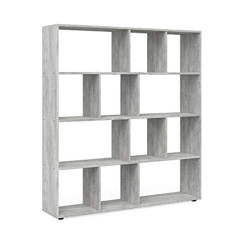 Vicco Raumteiler Pilar 12 Fächer - Raumtrenner Bücherregal Standregal 131,6 x 143 x 29 cm (BxHxT), Spanplatte Aktenregal (Beton)