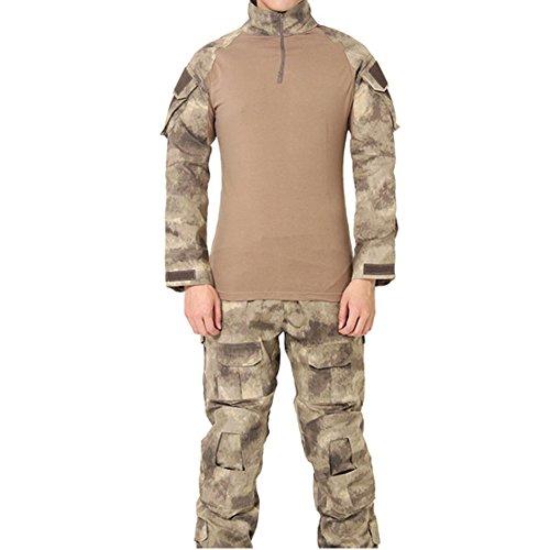FashionYoung Mimetica Uniforme Tattica Mens Camo Paintall Softair Abbigliamento Army Combat Shirt Pantaloni Cargo Ginocchiere