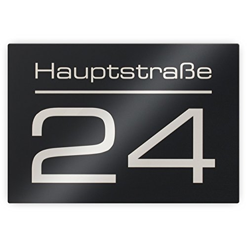 Hausnummer Hausnummernschild mit Beschriftung Straßenname/Name und Wunsch-Nummer - Farbe wählbar in Anthrazit-Grau RAL 7016 / Schwarz/Weiß/Blau - UV-beständig - ver. Größen (Acrylglas)