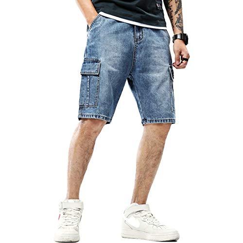 Pantalones Cortos de Mezclilla para Hombre, Verano, Pantalones Cortos de Mezclilla con Herramientas de Talla Grande, Pantalones Vaqueros de Cinco Puntos Multibolsillos de Moda 28