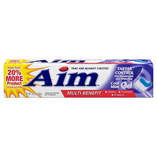 Aim Tartar Control Anticavity Fluoride Toothpaste Gel - 5.5 oz, Pack of 6