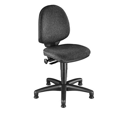 Topstar Industrie-Drehstuhl Typ 2 mit Gleitern, Sitz u. Rücken Stoff, anthrazit, Sitzhöhe 420-550 mm