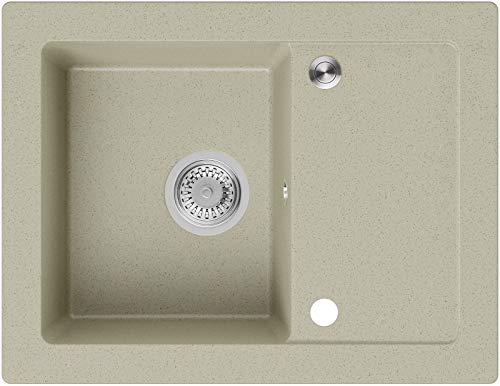 Granitspüle Beige 64 x 49 cm, Spülbecken + Siphon Pop-Up, Küchenspüle ab 45er Unterschrank, Einbauspüle Ibiza von Primagran