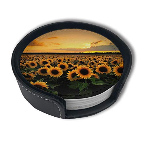 CZZD Sunflower Luxury Coasters Protect Furniture from Water Marks Scratch and Damage,Suitable for All Kinds of Cups,Set of 6
