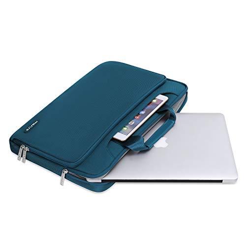 MOSISO Laptop Hülle Tasche Kompatibel mit MacBook Pro 16 Zoll, 15 15,4 15,6 Zoll Dell Lenovo HP Asus Acer Samsung Chromebook,360 Schutz Wasserabweisende Schultertasche mit Trolley Gürtel, Deep Teal