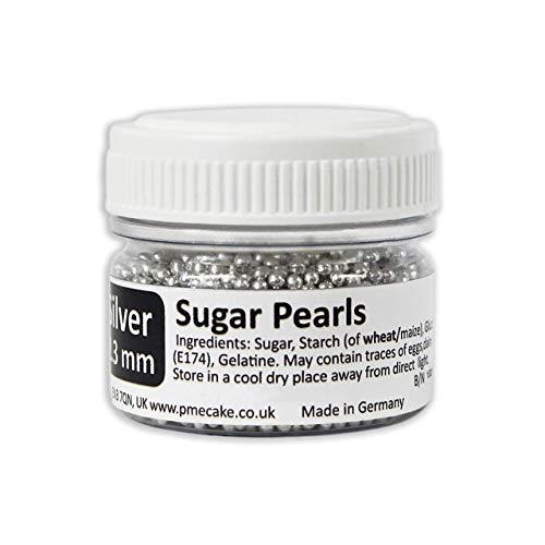 Perlas de Azúcar Plateadas PME, con un diámetro de 2,3 mm, 25 g