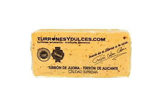 Turrón blando Jijona 70% almendra marcona, artesano. Tableta de 300