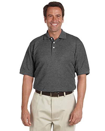 Chestnut Hill Men's Short Sleeve Performance Plus Pique Polo Shirt CH100   Plain Polo Shirt   Uniform (Large) Gray