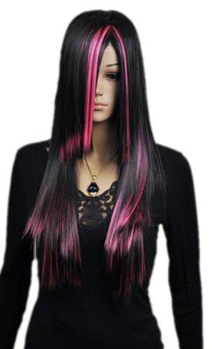 Qiyun Longue Raide Noir Pink Mixte Multicolore F¨ºte Costumee Cosplay Complete Cheveux Perruque
