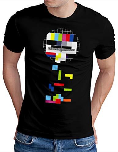OM3® Testbild-Tetris T-Shirt - Herren - Video Game Analog Fernseher TV - Schwarz, XL