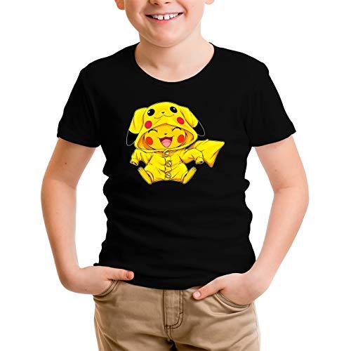 Okiwoki T-Shirt Enfant Garçon Noir Parodie Pokémon - Pikachu - L'ultime Cosplayer (T-Shirt Enfant de qualité Premium de Taille 7-8 Ans - imprimé en France)