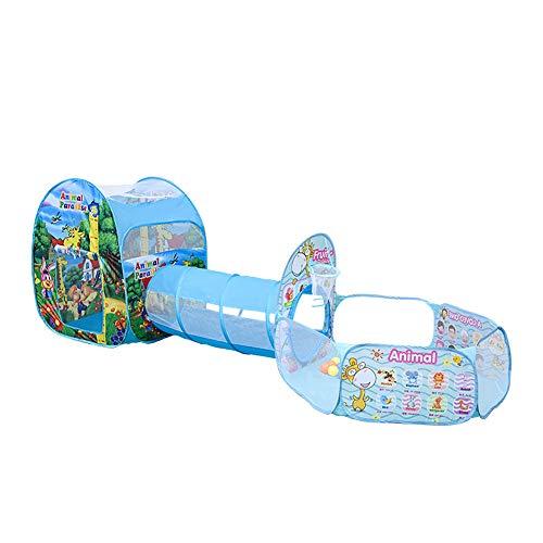 Tienda De Juegos para Niños 3 En 1,Casa De Juegos para Niños Y Niños Pequeños,con Play Tunnel, Ball Pit, Basketball Hoop para Niños Y Niñas,Juguete Pop Up Playhouse para Niños Pequeños,Azul